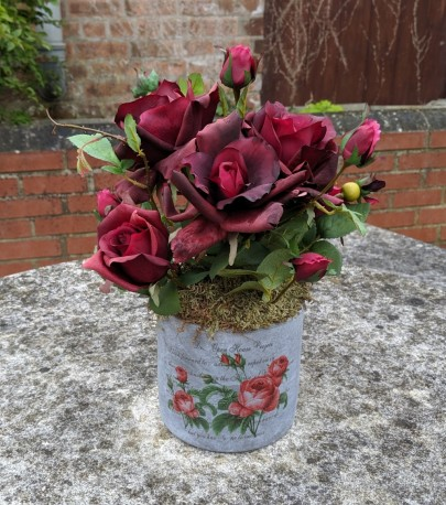 Artificial Rose in Printed Stoneware Pot