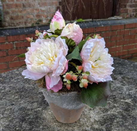 Artificial Peony in Terracotta Stone-effect pot