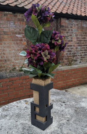 Artificial Hydrangea in Contemporary Stoneware container